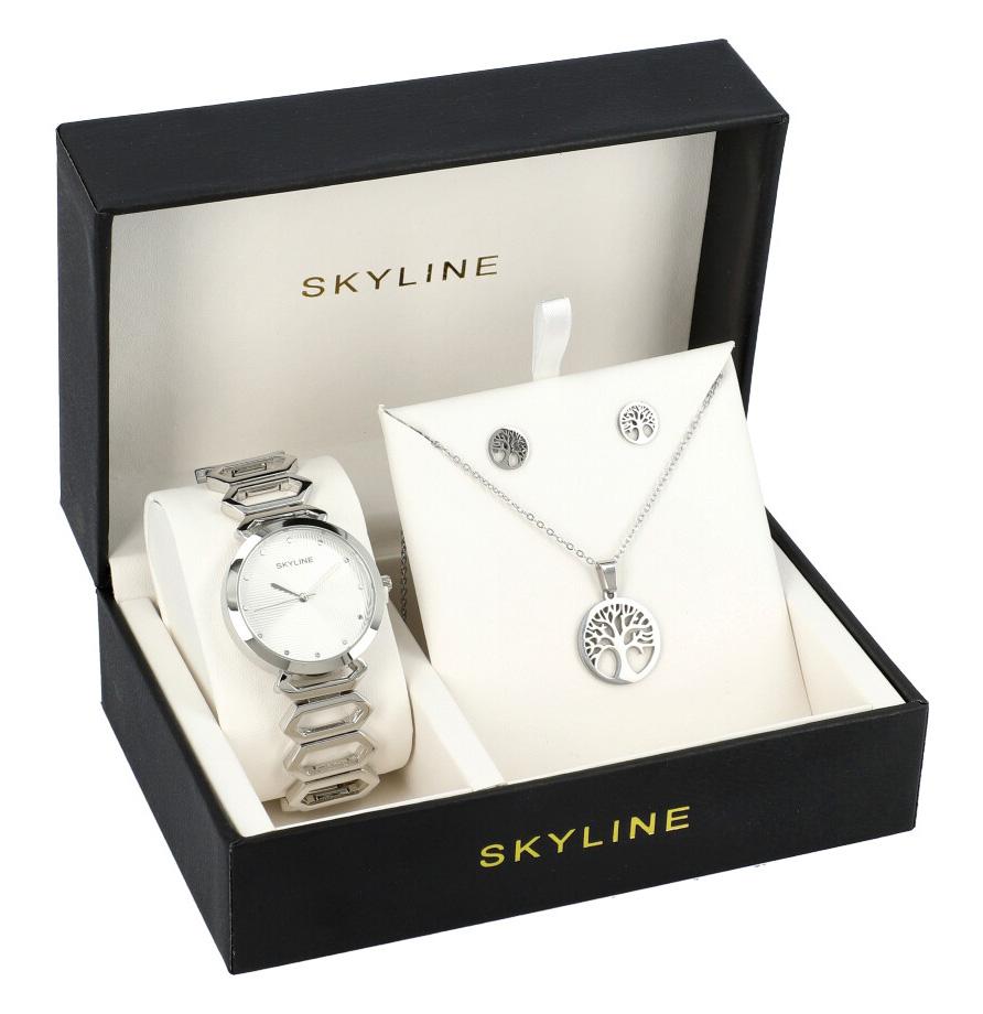 SKYLINE dámska darčeková sada strieborné hodinky s náhrdelníkom a náušnicami 8555