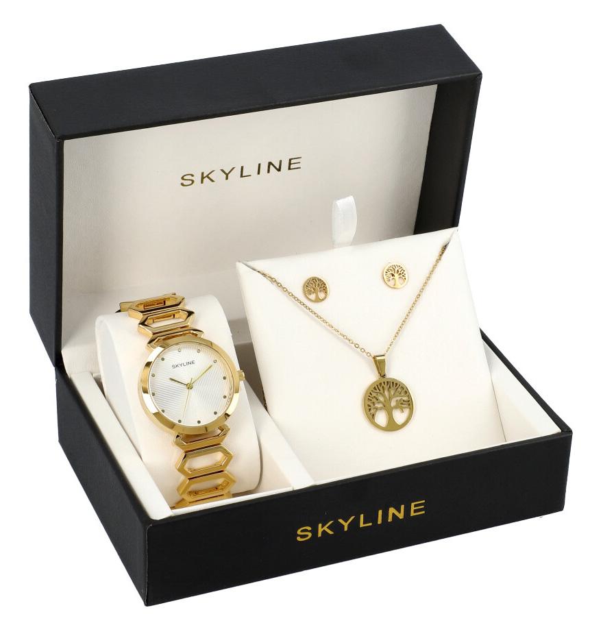 SKYLINE dámska darčeková sada zlaté hodinky s náhrdelníkom a náušnicami 8888