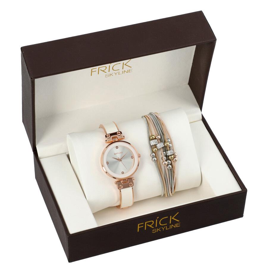 SKYLINE dámska darčeková sada bielo-ružové hodinky s náramkom R2000
