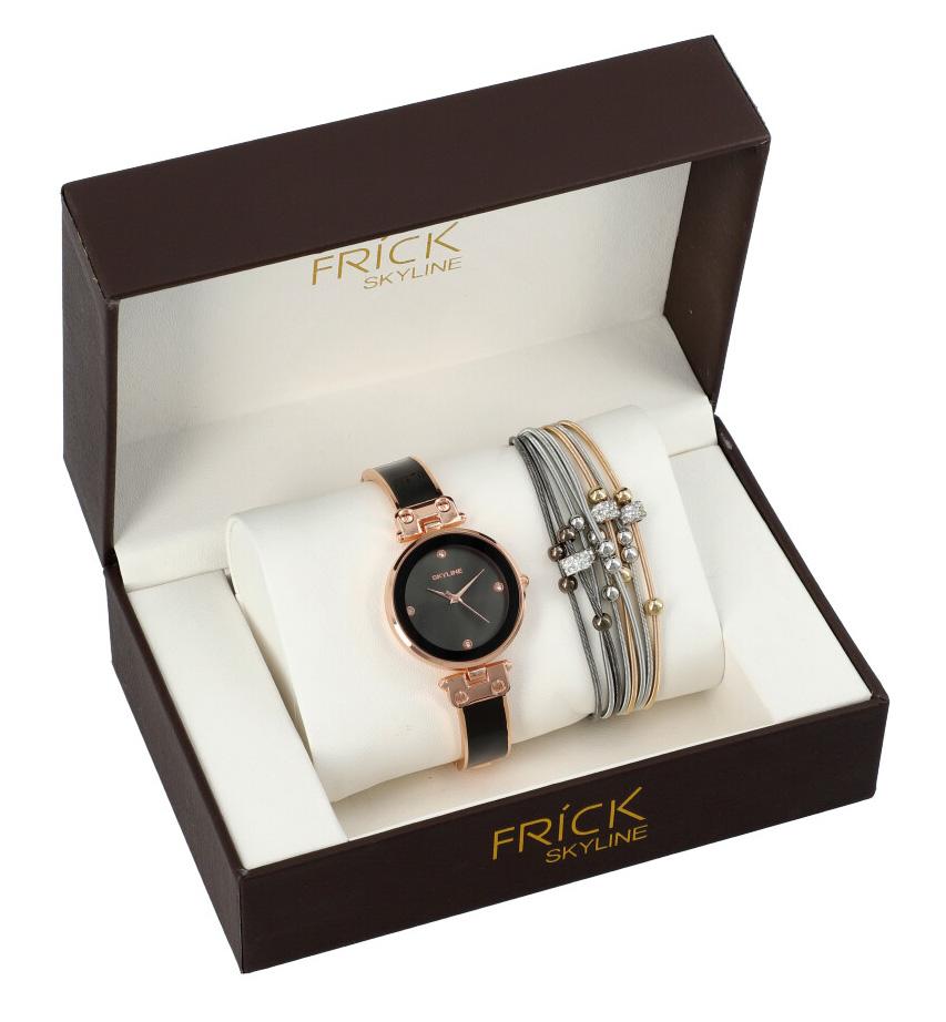 SKYLINE dámska darčeková sada čierno-ružové hodinky s náramkom R2001