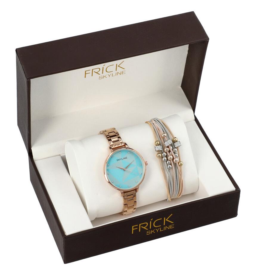 SKYLINE dámska darčeková sada ružovo-zlaté hodinky s náramkom R2010
