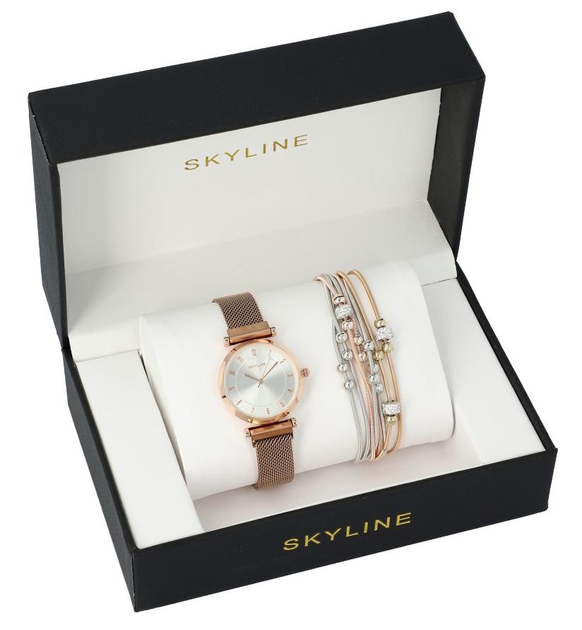 SKYLINE dámská dárková sada hodinky s náramkem MP008
