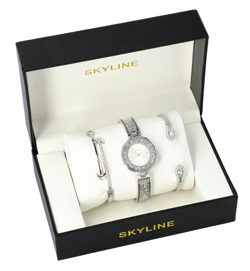 SKYLINE dámska darčeková sada strieborné hodinky s náramky SM0016