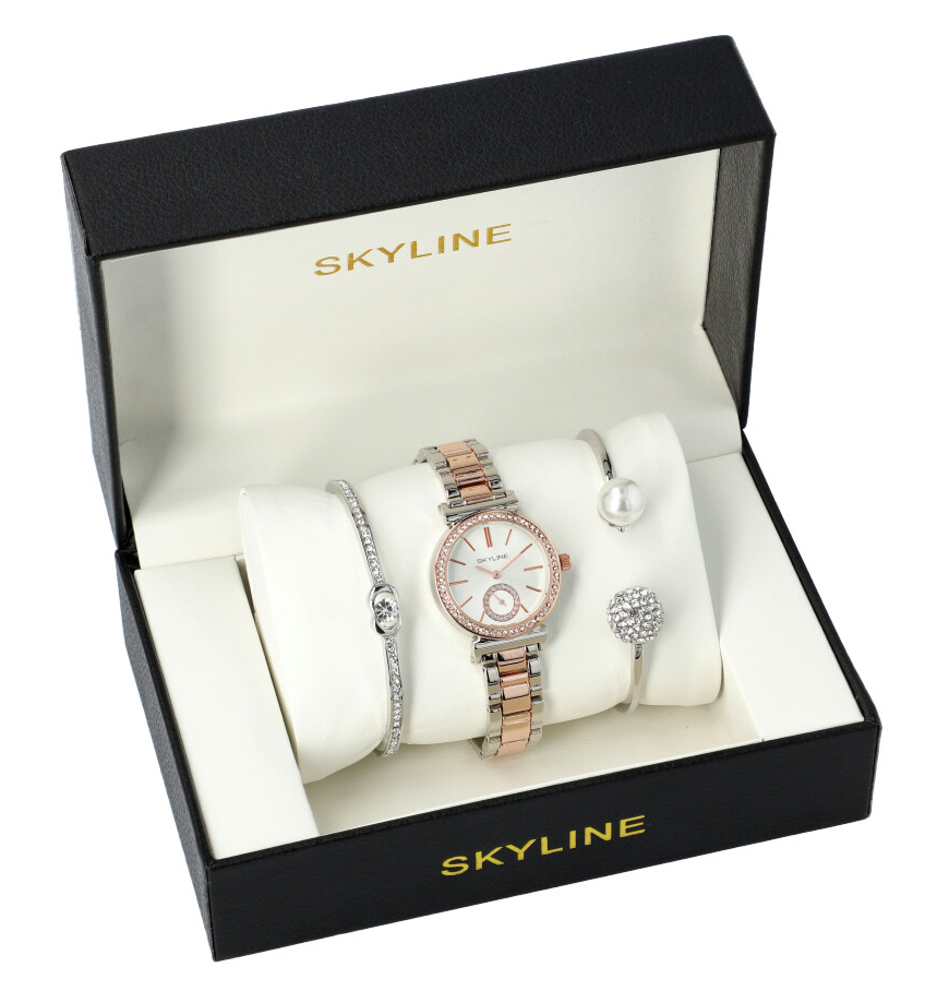 SKYLINE dámská dárková sada stříbrno-zlaté hodinky s náramky SM0022