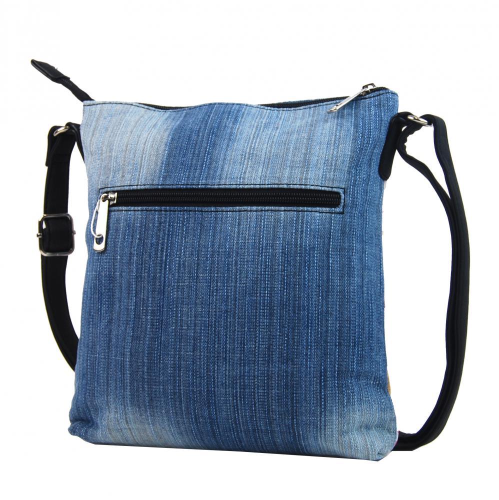 Džínsová dámska crossbody kabelka svetle modro-čierna H17293