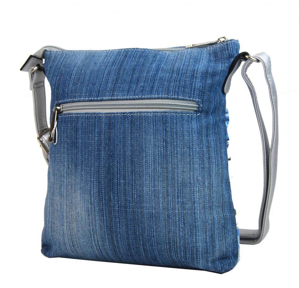 Džínsová dámska crossbody kabelka modro-strieborná H17293