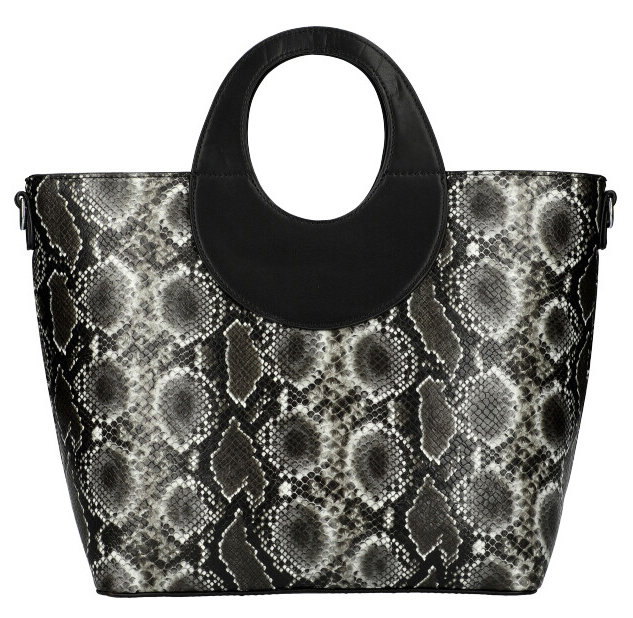 Velká černá dámská kabelka do ruky s hadím vzorem