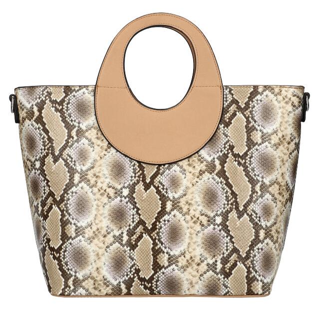 Velká přírodně hnědá dámská kabelka do ruky s hadím vzorem