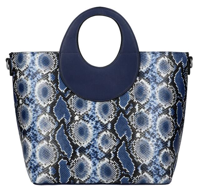 Velká modrá dámská kabelka do ruky s hadím vzorem