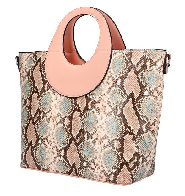 Velká růžová dámská kabelka do ruky s hadím vzorem