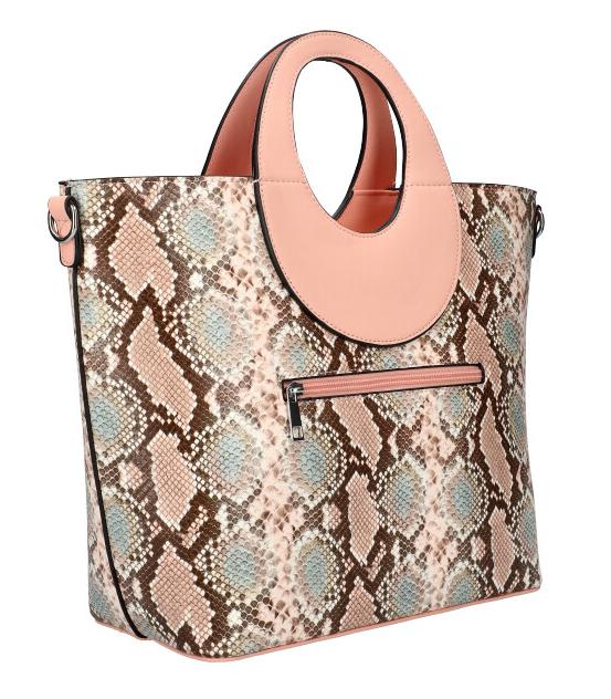 Veľká ružová dámska kabelka do ruky s hadím vzorom