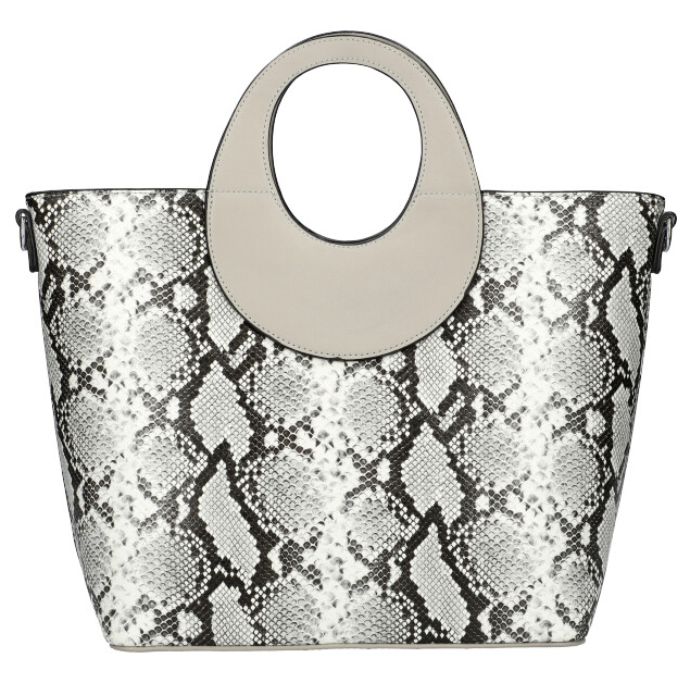 Velká šedá dámská kabelka do ruky s hadím vzorem