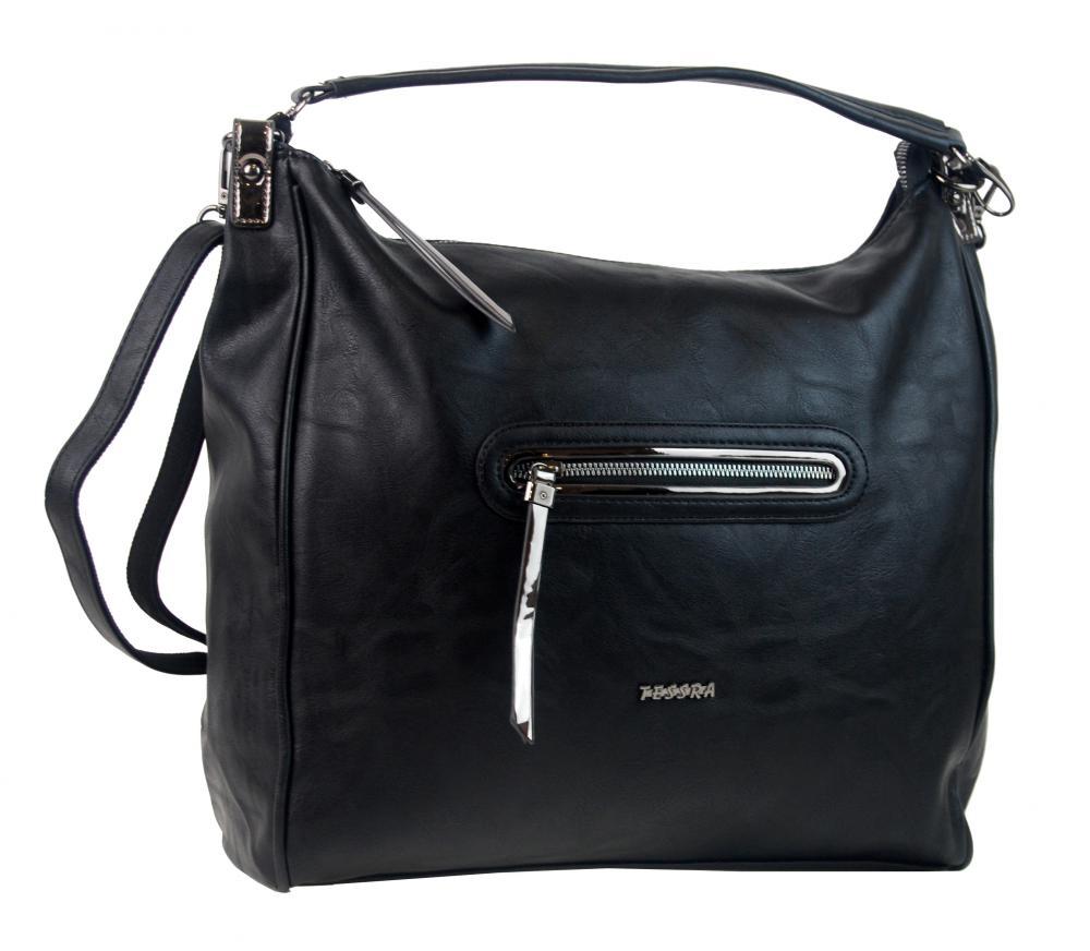 Čierna veľká dámska kabelka cez plece TESSRA  56fd9173346