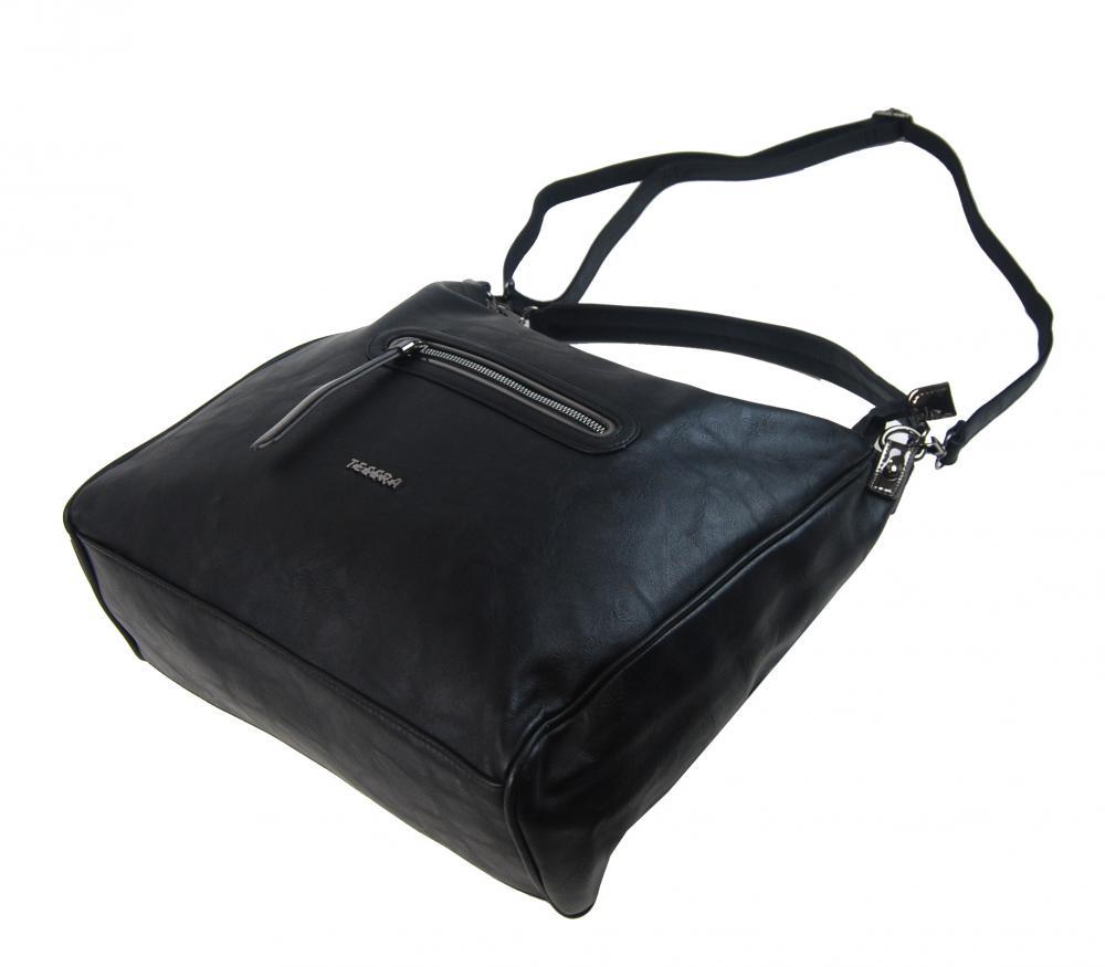 Velká černá dámská kabelka přes rameno TESSRA
