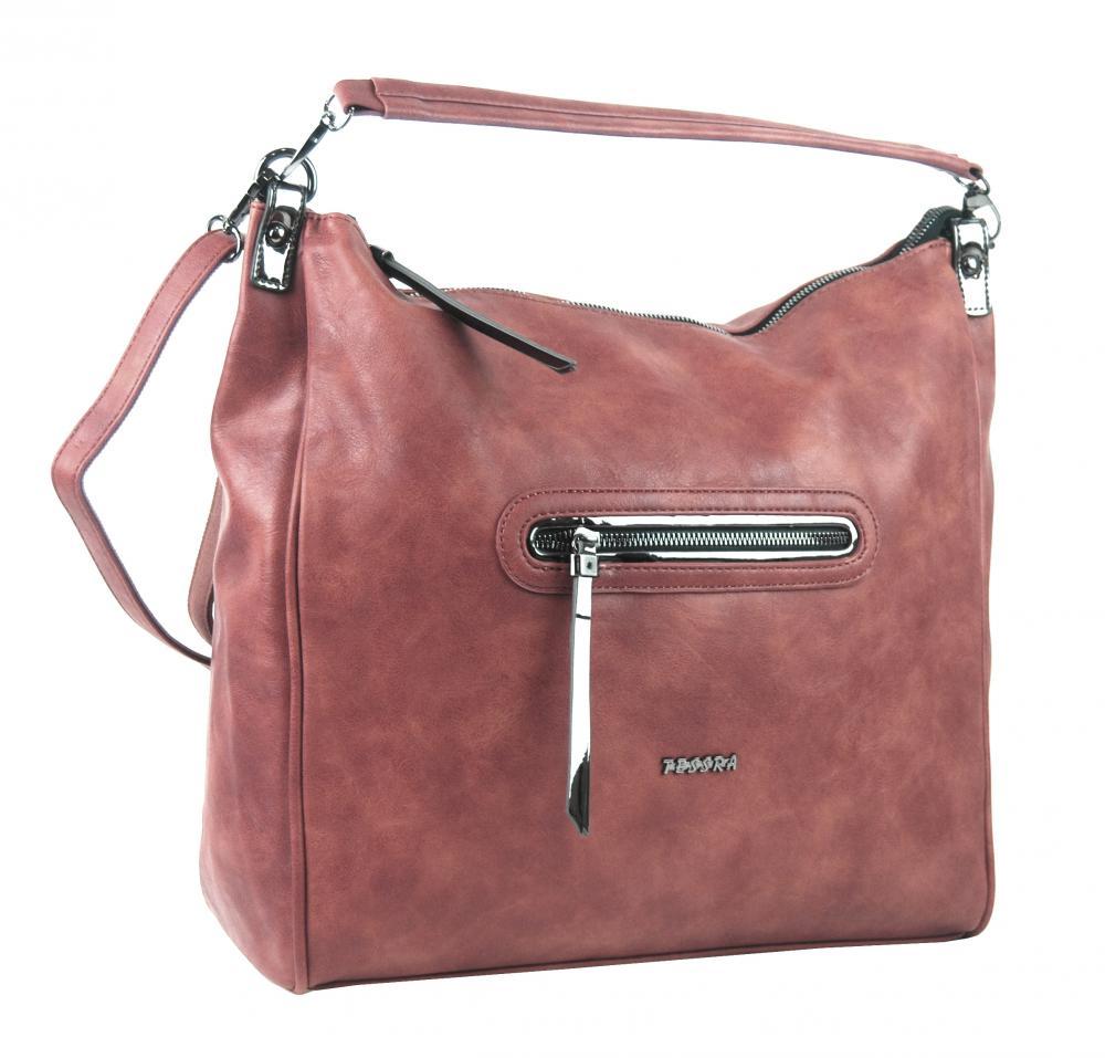 Ružová veľká dámska kabelka cez plece TESSRA