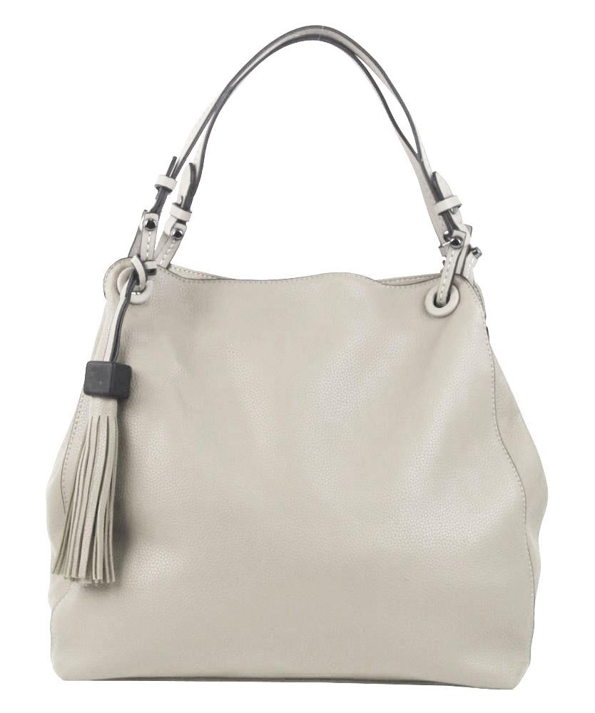 Krémová moderná kabelka cez plece 3990-BB