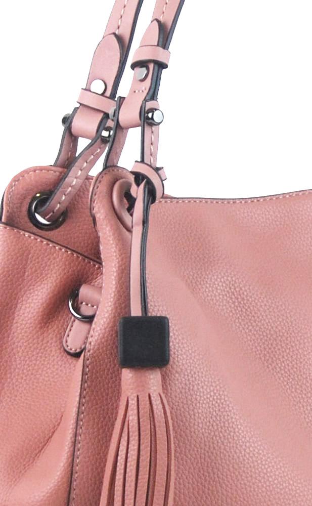 Ružová moderná kabelka cez plece 3990-BB
