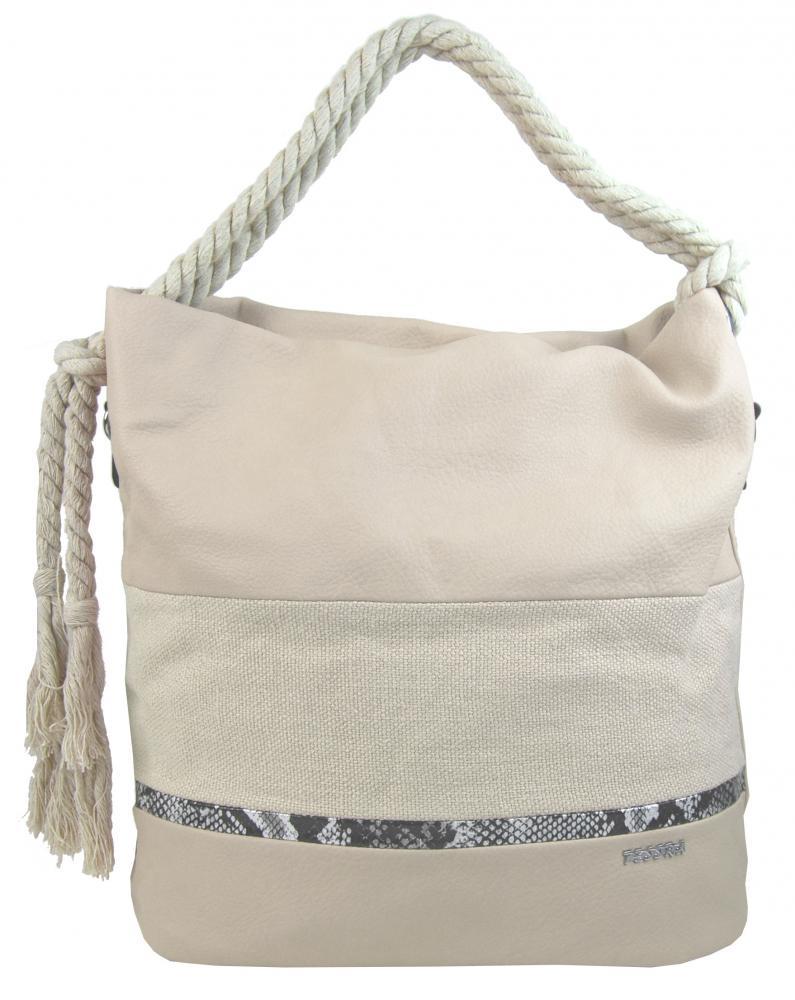 Velká béžová dámská kabelka s lanovými uchy 4543-BB