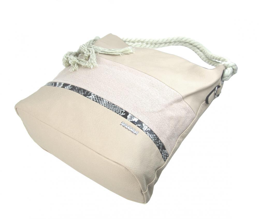 Veľká béžová dámska kabelka s lanovými uchami 4543-BB