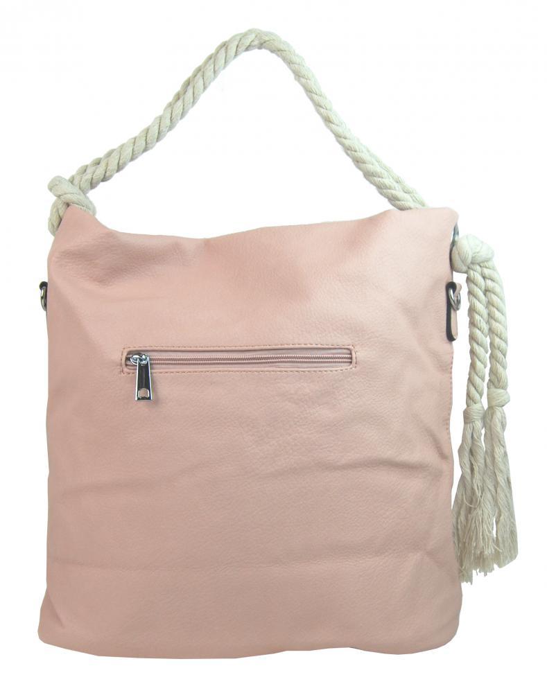 Veľká ružová dámska kabelka s lanovými uchami 4543-BB