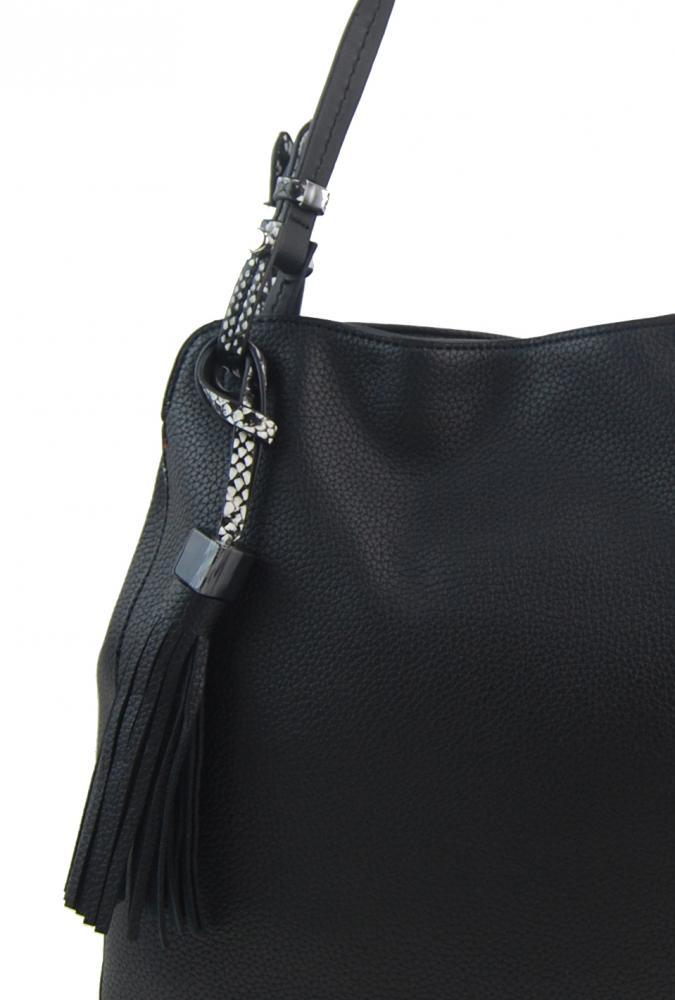 Černá moderní kabelka přes rameno s hadími ramínky 4896-BB