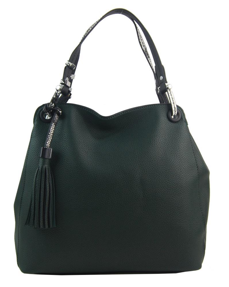 Tmavo zelená moderná kabelka cez rameno s hadími ramienkami 4896-BB