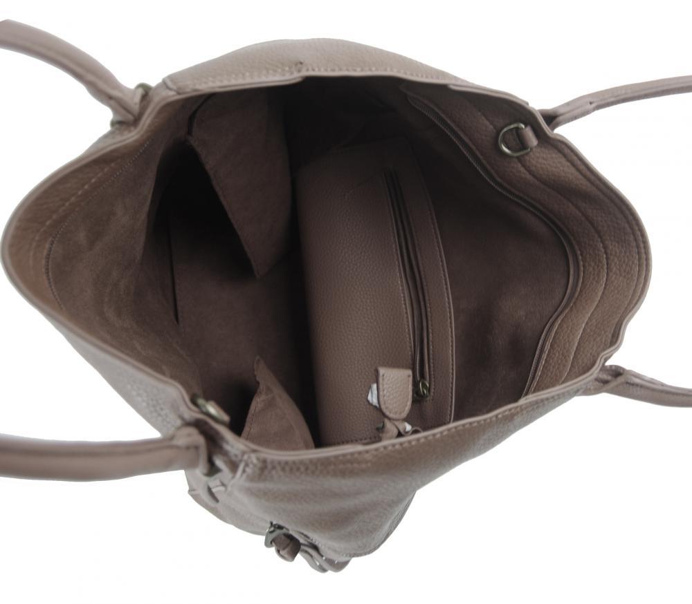 Velká jílově hnědá dámská kabelka 5054-TS
