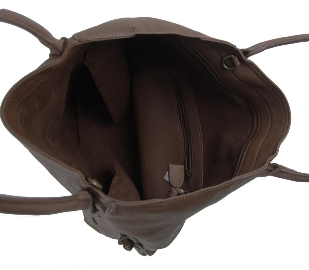 Veľká tmavo hnedá dámska kabelka 5054-TS