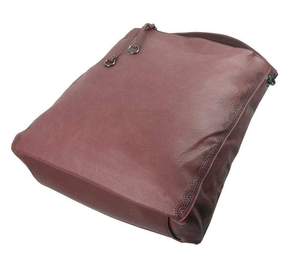 VELKÁ moderní dámská kabelka 5134-BB starorůžová