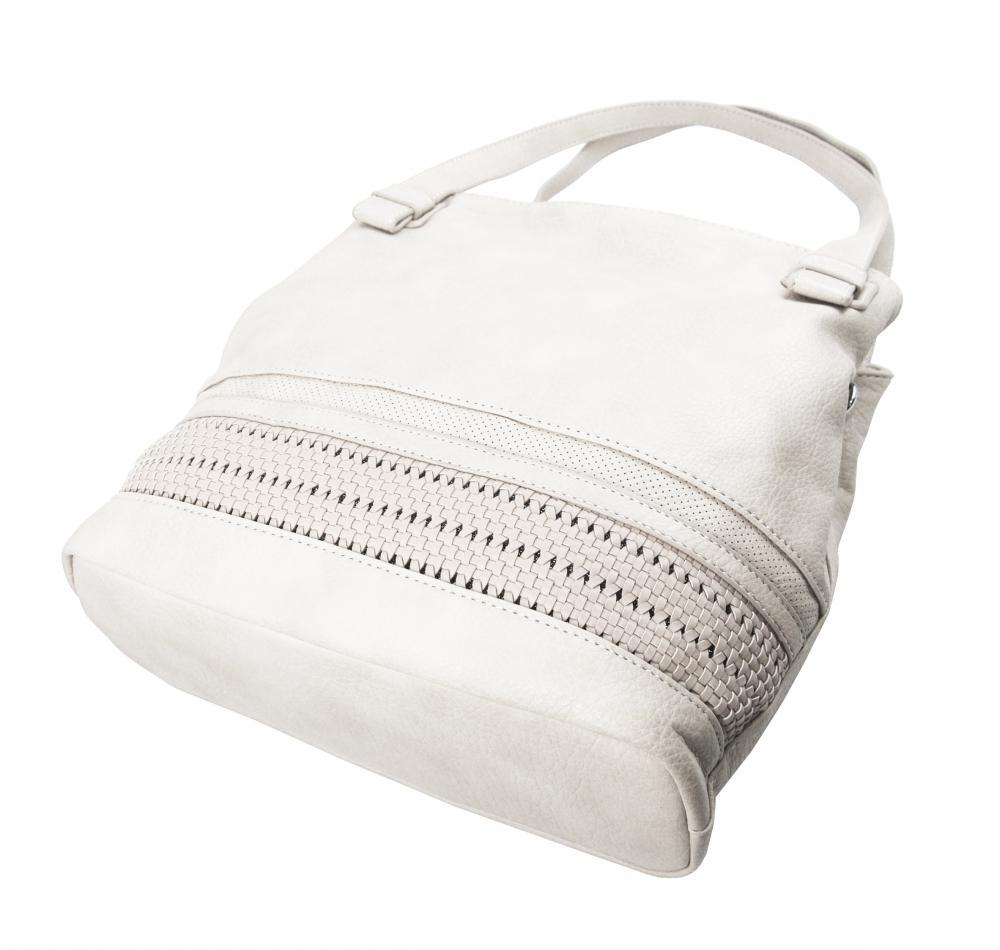 Svetlá krémová praktická dámska kabelka cez plece 5407-BB