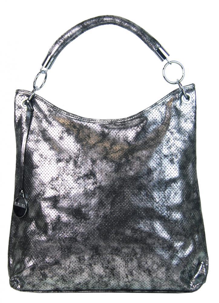 Moderní velká metalická kabelka přes rameno 665-MH stříbrná patina empty 92350fc3601