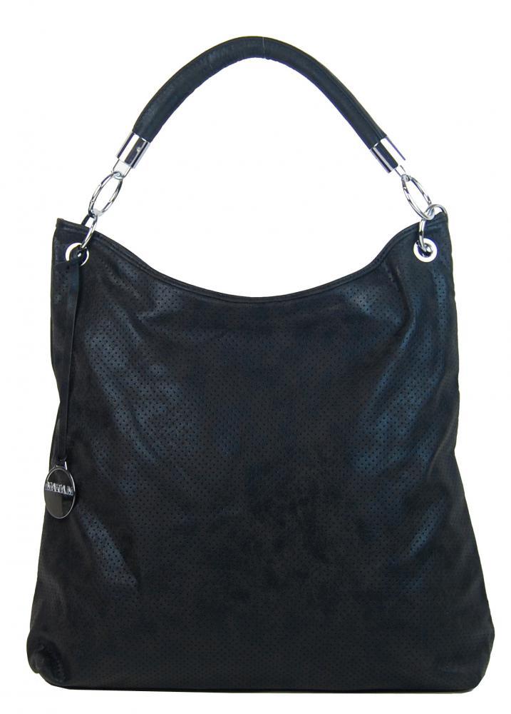 Moderná veľká metalická kabelka cez plece 665-MH čierna