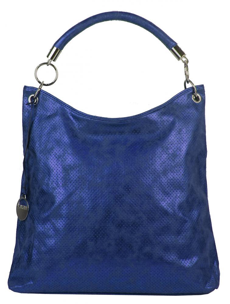 Moderní velká metalická kabelka přes rameno 665-MH modrá