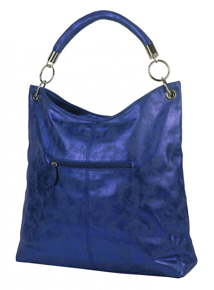 Moderná veľká metalická kabelka cez plece 665-MH modrá