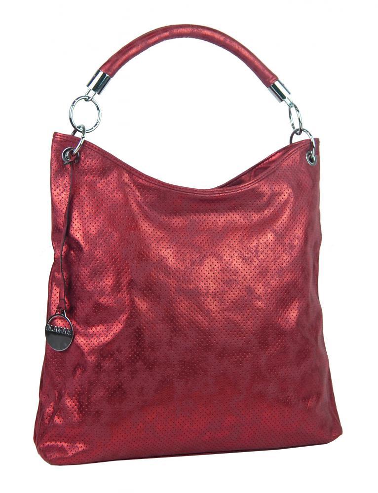 Moderná veľká metalická kabelka cez plece 665-MH červená