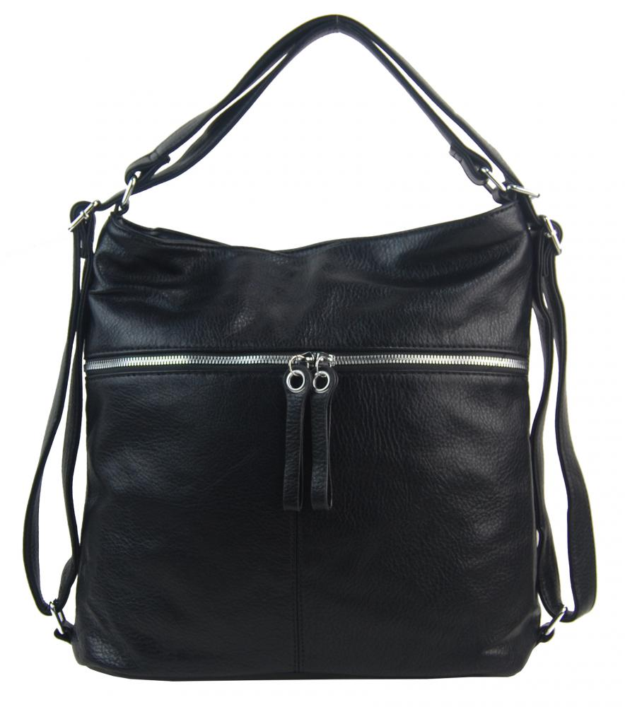 Veľká dámska kabelka cez rameno / ruksak čierna