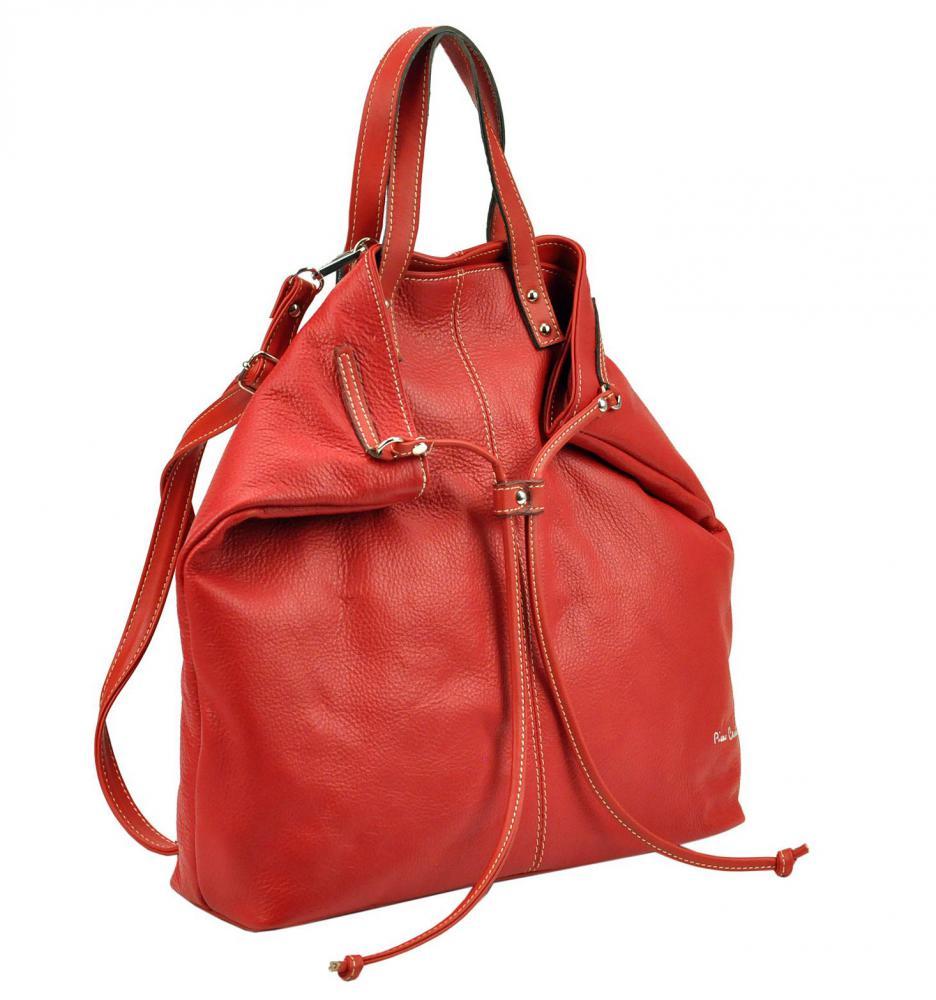 Pierre Cardin Kožená velká dámská kabelka do ruky / batoh béžová