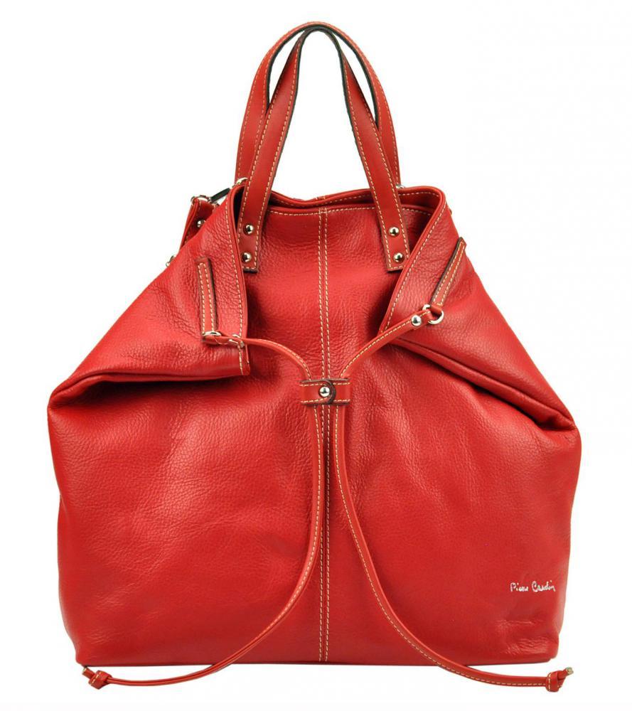 Pierre Cardin Kožená veľká dámska kabelka do ruky / ruksak červená