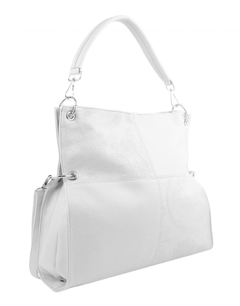 Veľká ľubovoľne nositeľná dámska kabelka 5381-BB biela