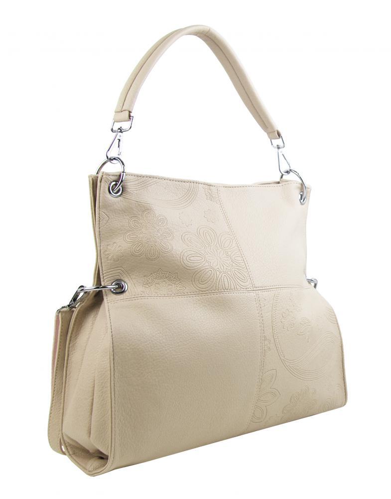 Velká libovolně nositelná dámská kabelka 5381-BB krémová