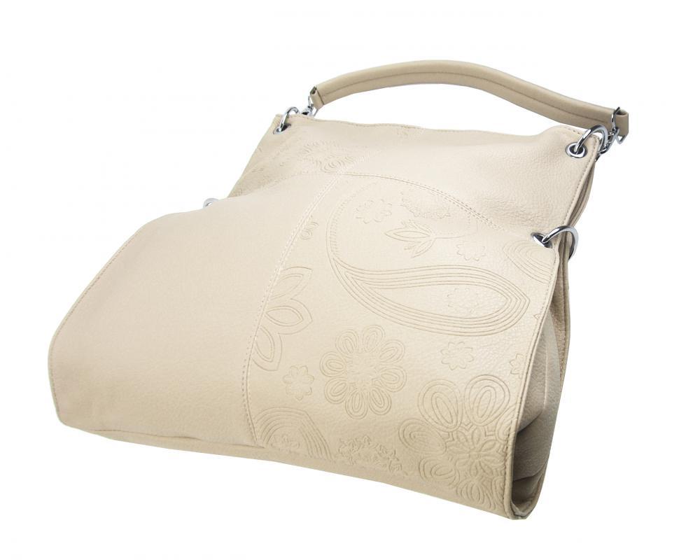 Veľká ľubovoľne nositeľná dámska kabelka 5381-BB krémová