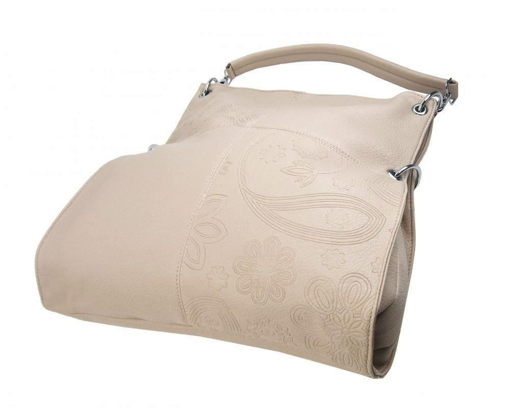 Velká libovolně nositelná dámská kabelka 5381-BB světlá kapučínová