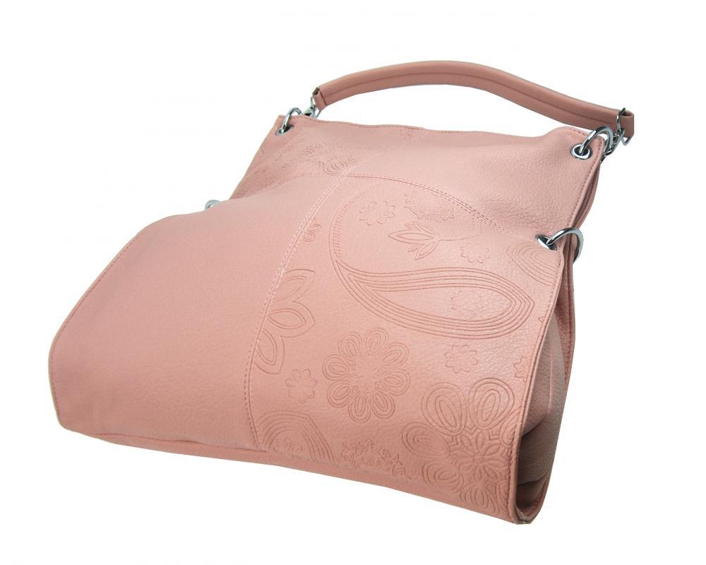 Veľká ľubovoľne nositeľná dámska kabelka 5381-BB ružová