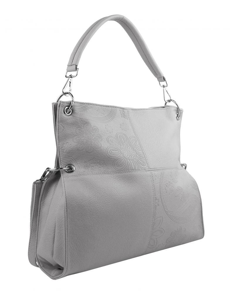 Velká libovolně nositelná dámská kabelka 5381-BB světle šedá
