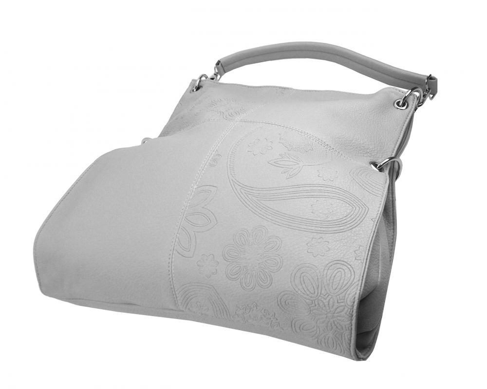 Veľká ľubovoľne nositeľná dámska kabelka 5381-BB svetlo sivá