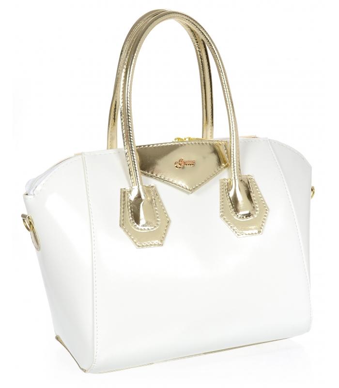 Bílá dámská kabelka se zlatými doplňky S744 GROSSO