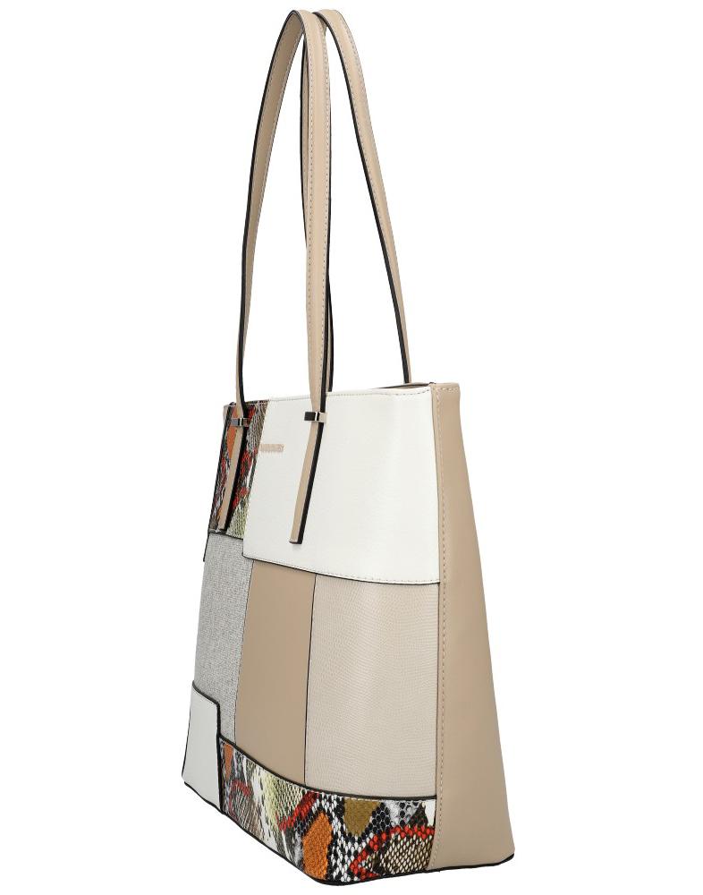 DAVID JONES Krémová veľká dámska kabelka cez rameno 6279-2