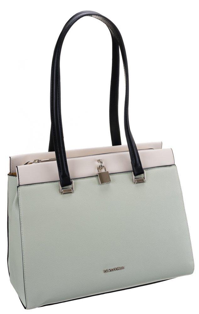 DAVID JONES Větší světlá mentolově zelená dámská kabelka přes rameno