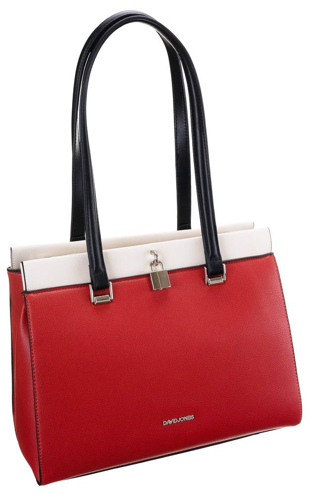 DAVID JONES Větší červená dámská kabelka přes rameno