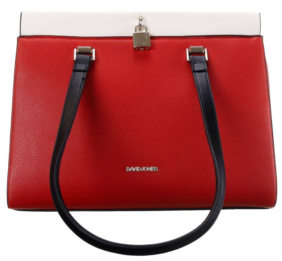 DAVID JONES Väčšia červená dámska kabelka cez rameno